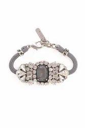Grey Glass Bead Bracelet