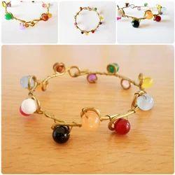 Candy Bead Stone with Brass Bracelet