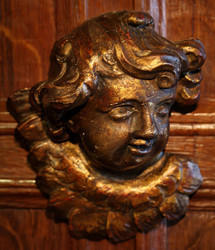 Antique Carved Angel\'s Head