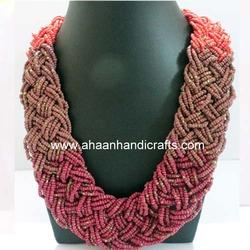 Maroon Beaded Necklaces
