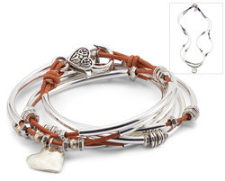 Double love with heart charm leather bracelet from lizzy for Who sells lizzy james jewelry