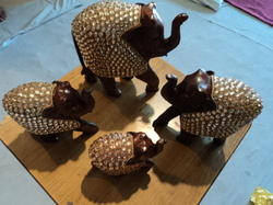Lac Wooden Handicraft Elephant Set