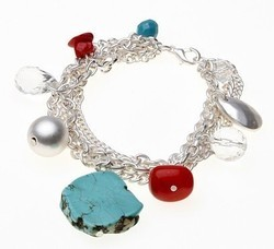 Silver Multi Chain Bracelet Turquoise Stones Red Beads