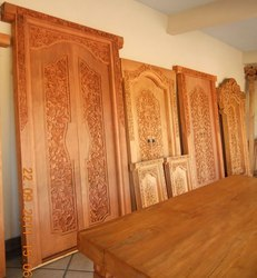 Teak traditional carved doors from jayaraj international for Traditional main door design