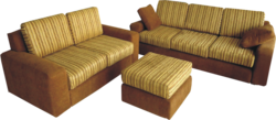 Robust Sofa with Pouff Excellent