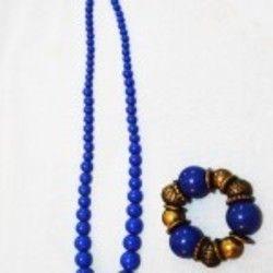 Blue Bead Necklace and Bracelet